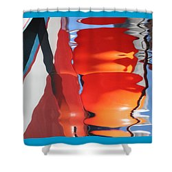 Boat And Wharf Reflection Shower Curtain