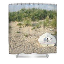 Boat At Chicks Beach Va Beach Chesapeake Bay Shower Curtain by Suzanne Powers