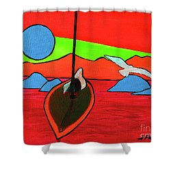 Boat, Bird And Moon Shower Curtain