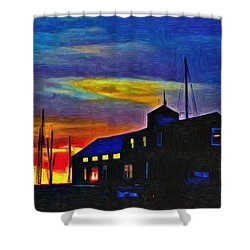 Boat Builder's Dawn Shower Curtain