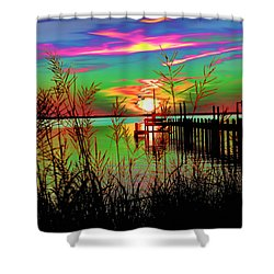 Boat Dock 3 Shower Curtain