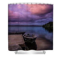 Boat Dock At Sunrise Shower Curtain