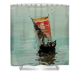 Boat Shower Curtain by Helal Uddin