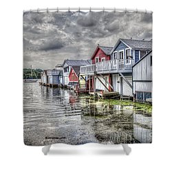 Boat Houses In The Finger Lakes Shower Curtain