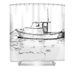 Boat In Casco Bay Shower Curtain