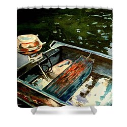 Boat In Fog 2 Shower Curtain by Marilyn Jacobson