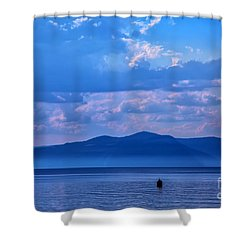 Boat In Lake Shower Curtain