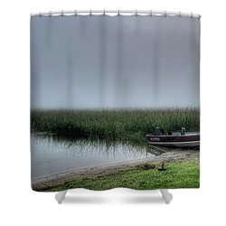 Boat In The Fog Shower Curtain