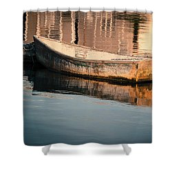 Boat In The Harbor Shower Curtain