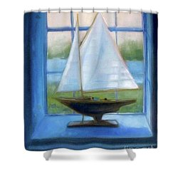 Boat In The Window Shower Curtain
