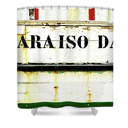 Shower Curtain featuring the photograph Boat Letters by Marion McCristall