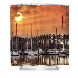 Boat Marina On The Chesapeake Bay At Sunset Shower Curtain
