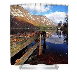 Boat Mooring At Lake Bohijn Shower Curtain by Graham Hawcroft pixsellpix