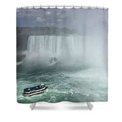 Boat Near Niagara Falls Shower Curtain