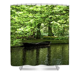 Shower Curtain featuring the photograph Boat On A Lake by Manuela Constantin