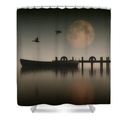 Boat On A Lake With Geese Flying Over Shower Curtain