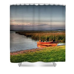 Boat On A Minnesota Lake Shower Curtain