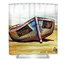 Boat On Beach Shower Curtain