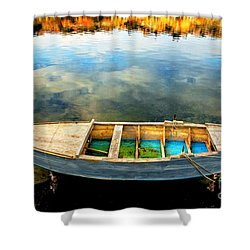 Boat On Lake Shower Curtain by Silvia Ganora