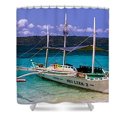 Boat On Puka Beach, Boracay Island, Philippines Shower Curtain