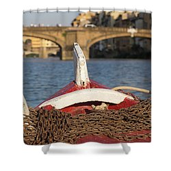 Boat On The Arno River,  Shower Curtain