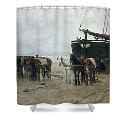Boat On The Beach At Scheveningen Shower Curtain by Anton Mauve