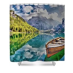 Boat On The Lake Shower Curtain