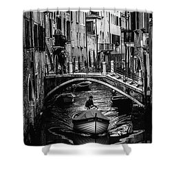 Shower Curtain featuring the photograph Boat On The River-bw by Okan YILMAZ