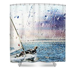Boat On The Sea Shower Curtain