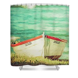Boat On The Shore Shower Curtain