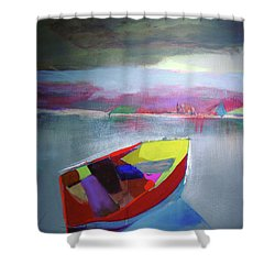 Boat On Whiskey Lake Shower Curtain