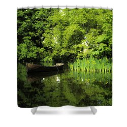 Boat Reflected On Water County Clare Ireland Painting Shower Curtain