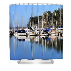 Shower Curtain featuring the photograph Boat Reflections by Art Block Collections