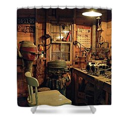 Boat Repair Shop Shower Curtain