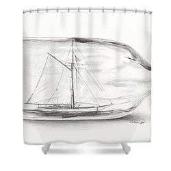Boat Stuck In A Bottle Shower Curtain