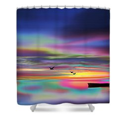 Boat Sunset Shower Curtain