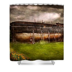 Boat - The Construction Of Noah's Ark Shower Curtain by Mike Savad
