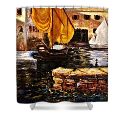 Boat With Golden Sail,san Vigilio  Shower Curtain by Cristina Mihailescu