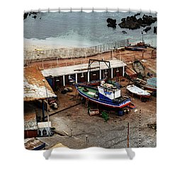 Boat Yard Iquique Harbor Chile Shower Curtain