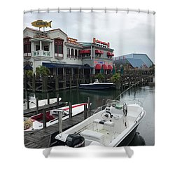 Boat Yard Shower Curtain by Michael Albright