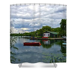 Boathouse Shower Curtain by Anne Kotan