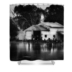 Shower Curtain featuring the photograph Boathouse Bw by Bill Wakeley