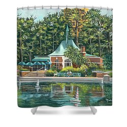 Boathouse In Central Park, N.y. Shower Curtain