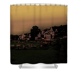 Shower Curtain featuring the photograph Boathouse Row From The Lagoon Before Dawn by Bill Cannon