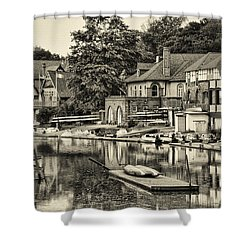 Boathouse Row In Sepia Shower Curtain by Bill Cannon