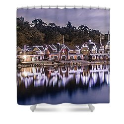 Boathouse Row Night Blue Shower Curtain