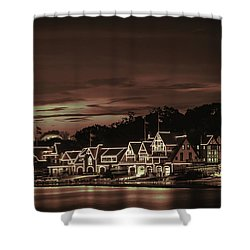 Boathouse Row Philadelphia Pa Night Retro Shower Curtain