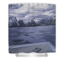 Shower Curtain featuring the painting Boating Jenny Lake, Grand Tetons by Erin Fickert-Rowland