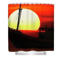 Boatman Enjoying Sunset Shower Curtain