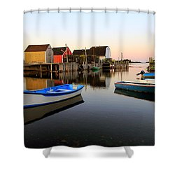 Boats And Fish Shacks At Blue Rocks, Nova Scotia Shower Curtain